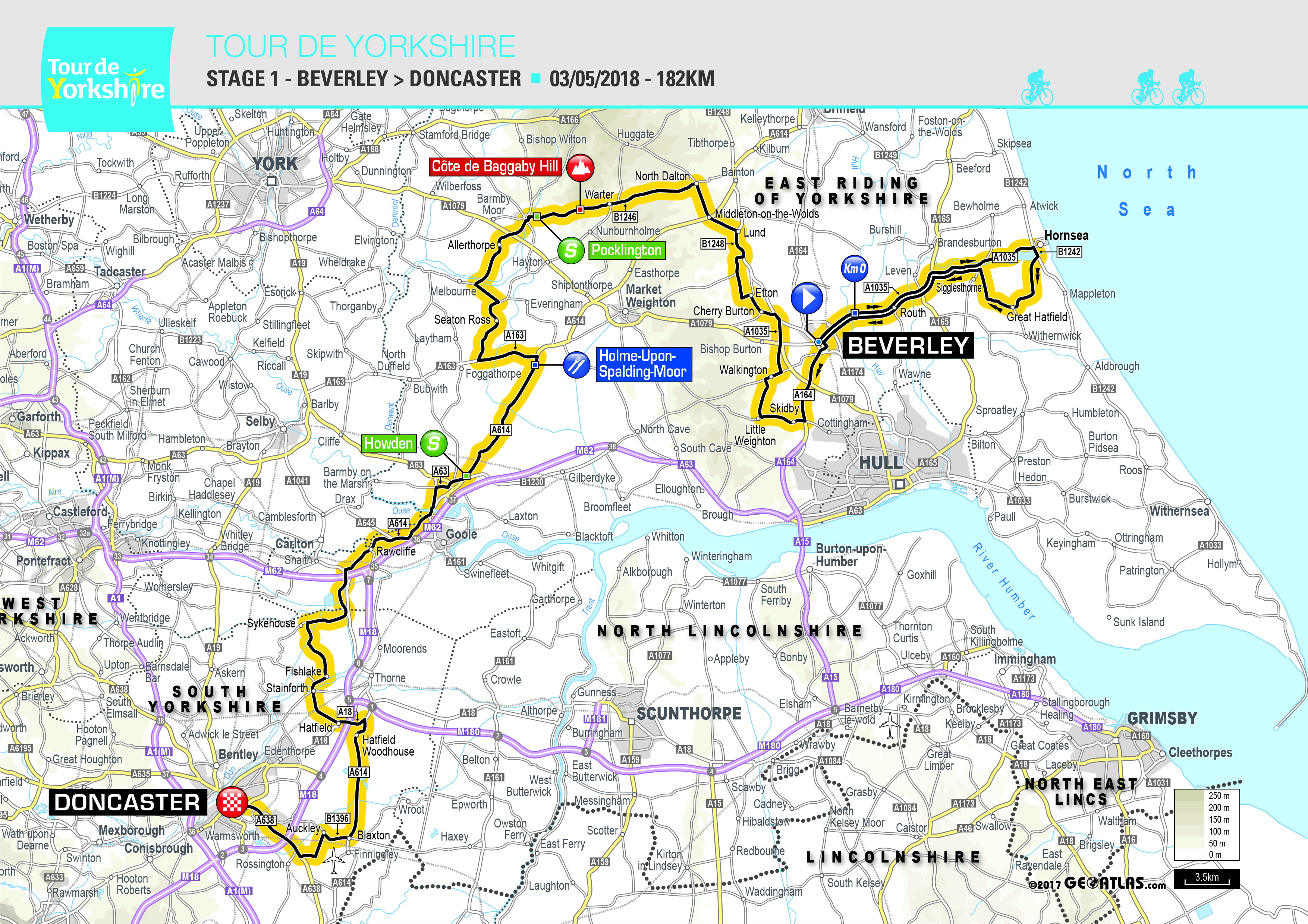 Stage 1, Tour de Yorkshire 2018, Beverley to Doncaster