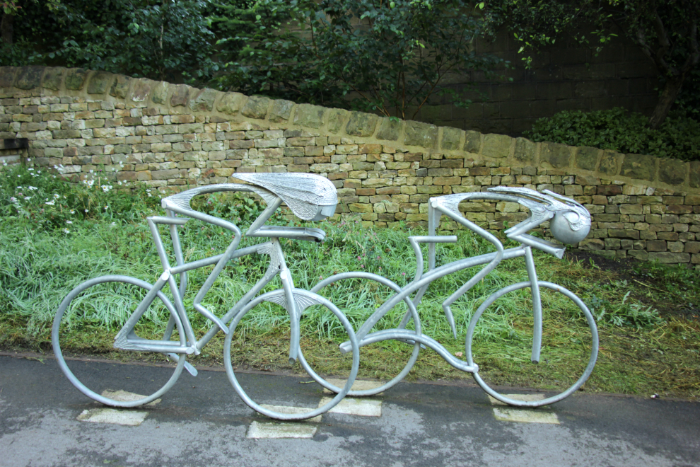 knaresborough tour de france garden pair of sculpted racing cyclists - Garden Design Knaresborough