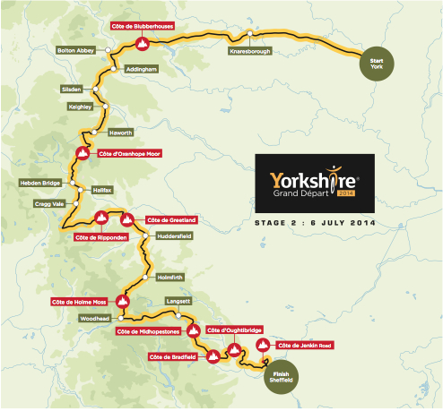 Tour de france 2014 stage two york to sheffield map of stage 2 tour de france 2014 gumiabroncs Image collections